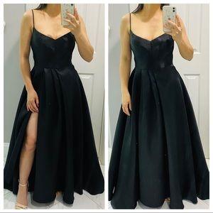 Black Halo Eve Black Satin Karlowe evening gown